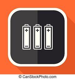 Battery vector icon. Flat design square internet gray button on orange background.