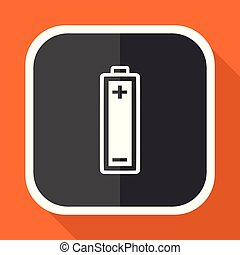 Battery vector icon. Flat design square internet gray button on orange background.