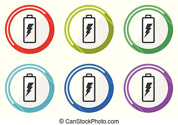 Battery vector icon set. Colorful flat design web icons on white background in eps 10.