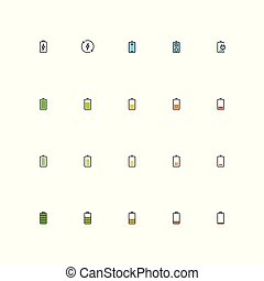 Battery vector icon set in filled outline style
