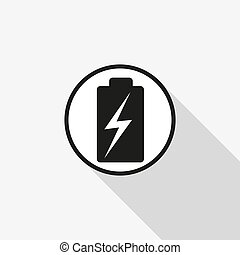 battery vector icon with a long shadow on the background