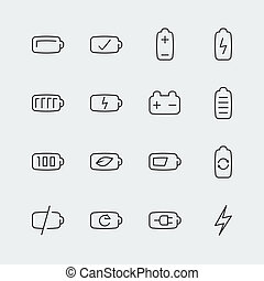 Battery vector icons set, thin line