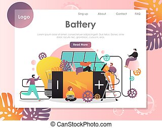 Battery vector website landing page design template