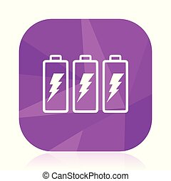 Battery violet square vector web icon. Internet design and webdesign button in eps 10. Mobile application sign on white background.