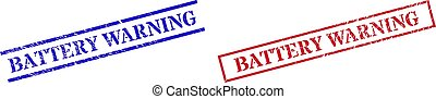 BATTERY WARNING Grunge Rubber Stamp Seals with Rectangle Frame