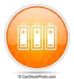 Battery web icon. Round orange glossy internet button for webdesign.