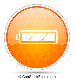 Battery web icon. Round orange glossy internet button for webdesign.