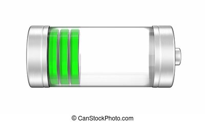 Battery with a green charge progress indicator, 3D animation...