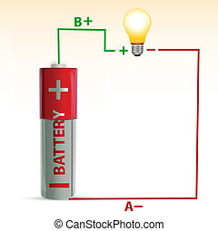 battery with bulb - illustration of battery with electric...