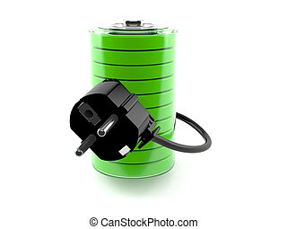 Battery with electric plug