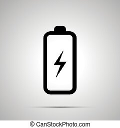 Battery with electricity symbol simple black icon