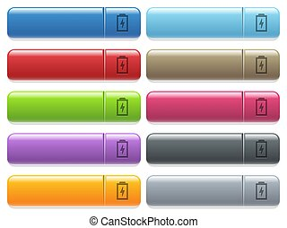 Battery with energy icons on color glossy, rectangular menu button