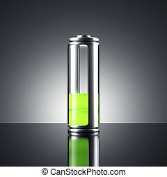 Battery with green indicator. 3d rendering