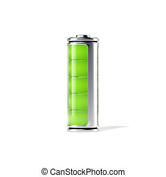 Battery with green indicator isolated. 3d rendering