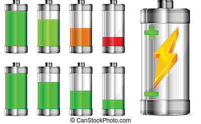 Battery with level indicator, energy concept, vector...