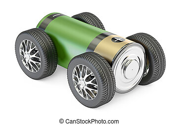 Battery with wheels, green energy concept. 3D rendering