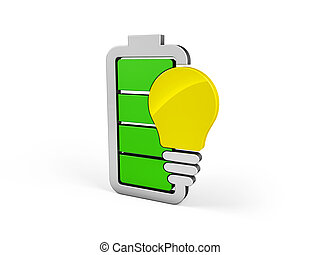 Battery with yellow lightbulb - eco energy concept. 3d illustration
