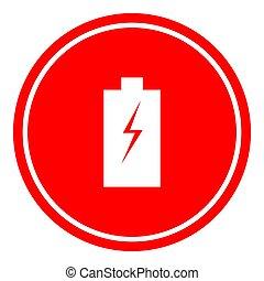 Batteryr icon vector illustration on red background.