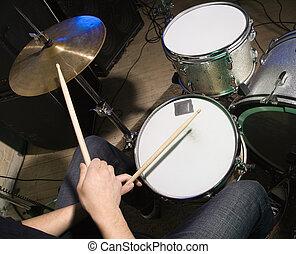 batteur, drumset., jouer