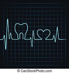battito cardiaco, cuore, fare, denti