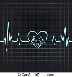 battito cardiaco, cuore, fare, famiglia