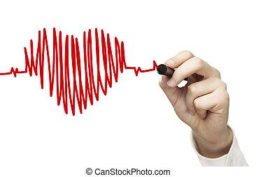battito cardiaco, disegno, grafico