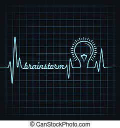 battito cardiaco, fare, brainstorm, parola