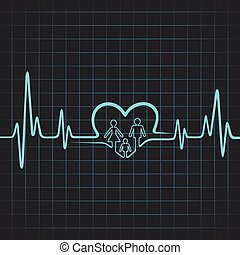 battito cardiaco, fare, famiglia, cuore