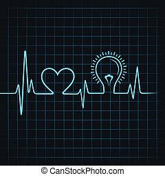 battito cardiaco, fare, light-bulb, cuore