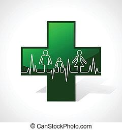 battito cardiaco, fare, più, famiglia, icona