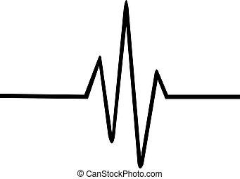 battito cardiaco, linea, magro