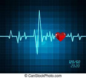 battito cardiaco, monitor, fondo