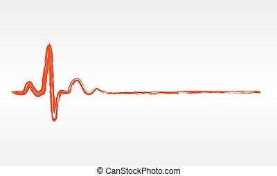 battito cardiaco, vettore, -, illustration., icona