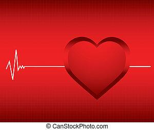 battito cardiaco, vettore, monitor, fondo