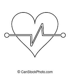 battito cuore, idoneità, simbolo, contorno