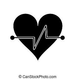 battito cuore, idoneità, simbolo, pictogram