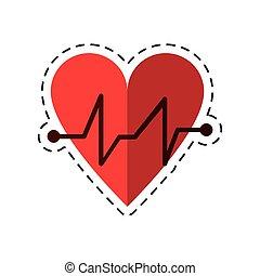 battito cuore, medico, impulso, cardiaco, cartone animato, icona