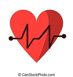 battito cuore, medico, impulso, cardiaco, icona