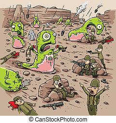 Cartoon humans battle violent alien slug creatures on a remote planet.