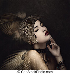 battle angel with feather helmet in calm thinking pose small...