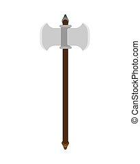 Battle ax weapon isolated. Double blade. Old medieval axe...
