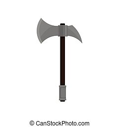 Battle axe with sharp steel blade and wooden grip. Medieval weapon. Flat vector design