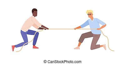 Battle between black skin man and european guy vector flat illustration. Two male fight for rights pulling opposite ends of rope isolated on white background. Modern people resistance to leadership