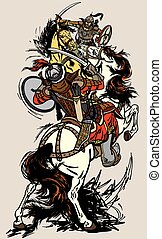 battle between two mongolian warriors - Combat of Mongolian...