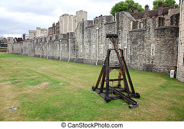 Battle catapult in The Tower of London, medieval castle and prison, UK