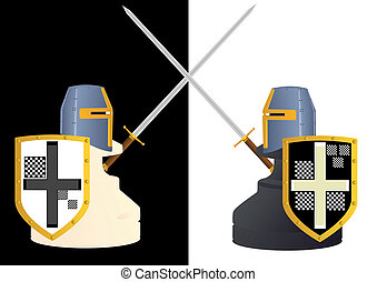 Abstract image of chess pieces in the style of medieval knights in black and white background.