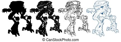 Battle Combat Robot Vector 04...