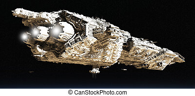 Battle Cruiser in Low Orbit - Giant space battle cruiser and...
