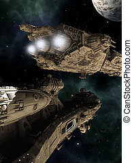 Battle Cruisers - Science fiction scene of giant space...