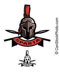 Battle Helmet and Spears. Spartan symbol, logo emblem
